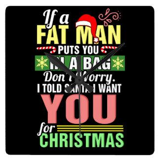 God jul och jultomten fyrkantig klocka