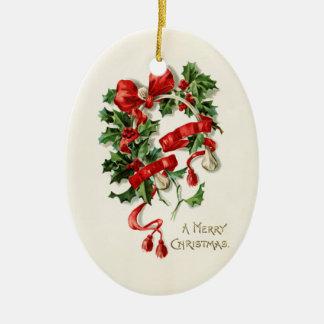 God jul ovalformad julgransprydnad i keramik