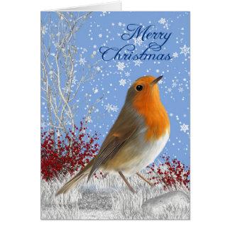 God jul Robin i snön Julhälsningar Hälsningskort