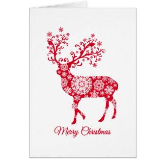 God jul röd hjort med snöflingor hälsningskort