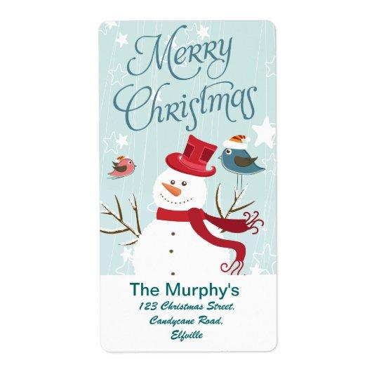 God jul snögubbe och fågeljuletiketter fraktsedel