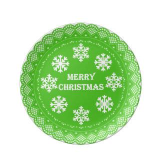 God jul snör åt pläterar porslinstallrik
