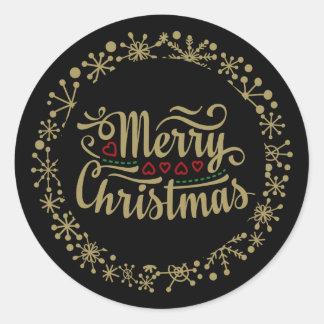 God jul Snowflake och hjärtaklistermärkear Runt Klistermärke