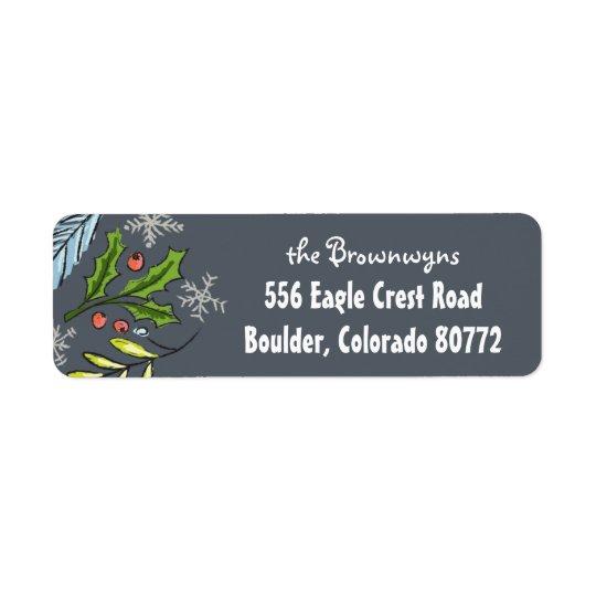 God julblått Spruce lövruskaretur Returadress Etikett
