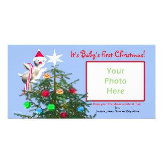 God julfågel - baby första jul fotokort mall