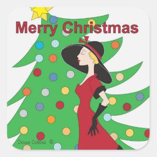God julflicka i röd klänningklistermärke fyrkantigt klistermärke