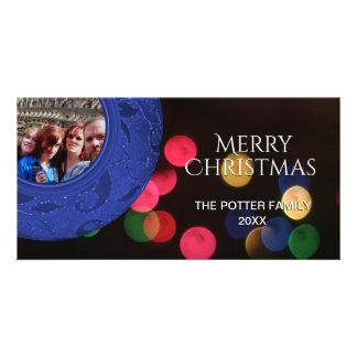 God julfotoblått röda gröna Bokeh Fotokort