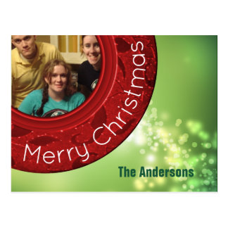 God julfotokort röda gröna Bokeh Vykort