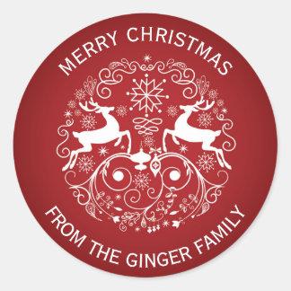 God julhjort och virvlar runt rundaklistermärken runt klistermärke