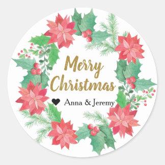 God julklistermärke - julafton för järnekbärguld runt klistermärke