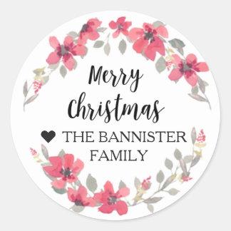 God julklistermärke - röd julafton för bär runt klistermärke