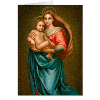 God julkort Madonna och barn Hälsningskort