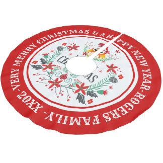 God julkran & gullig uggla julgransmatta borstad polyester