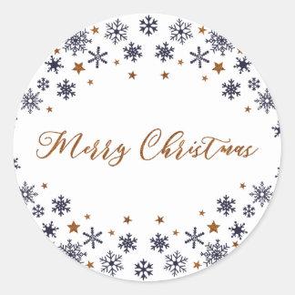 God julsnöflingor- och stjärnaklistermärke runt klistermärke