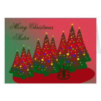 God julsyster: Rött och grönt träd Hälsningskort