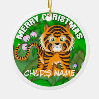 God jultiger rund julgransprydnad i keramik