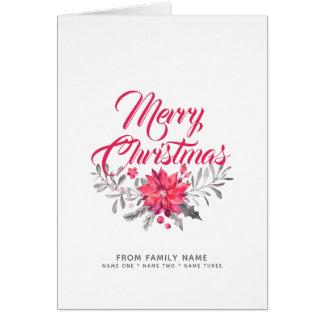 God jultypografi & blommabukett hälsningskort