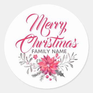 God jultypografi blommar bukettklistermärken runt klistermärke