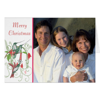 God julvintagefåglar ditt familjfoto hälsningskort