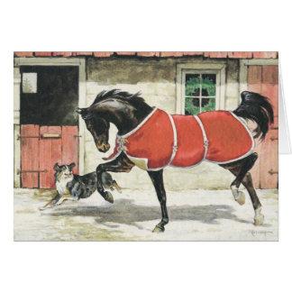 God julvintagehäst och hund hälsningskort