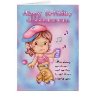 Goddaughterfödelsedagkort - gullig flicka med hälsningskort