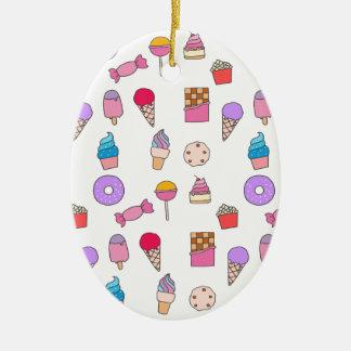 Godis, sötsaker och tårta julgransprydnad keramik