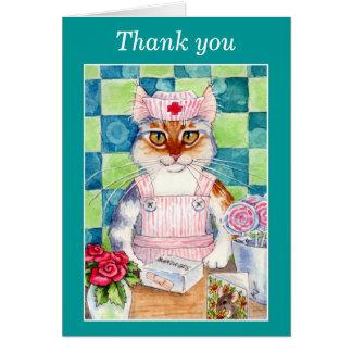 Godisstripersjuksköterska katt Tacka-du kort