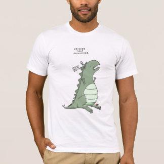 godzilla och en främling: vänner hjälper varje tee shirt