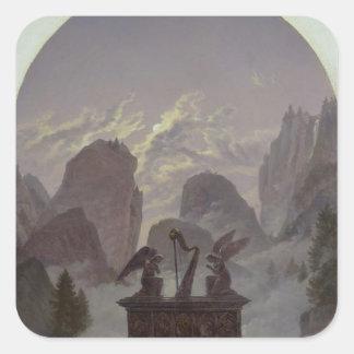 Goethe monument fyrkantigt klistermärke