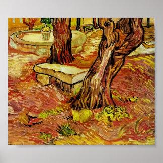 Gogh - stenen tar av planet i trädgården på St Pau Print