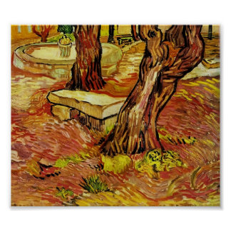 Gogh - stenen tar av planet i trädgården på St Pau Poster