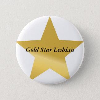 gold-star-2 guld- stjärnalesbisk standard knapp rund 5.7 cm