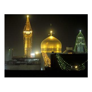 Golden Dome av komplex för ImamReza relikskrin på Vykort