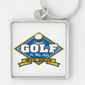 Golf är mitt liv fyrkantig silverfärgad nyckelring