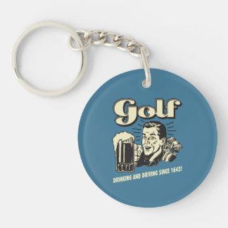 Golf: Dricka & körning efter 1642 Dubbelsidigt Rund Akryl Nyckelring
