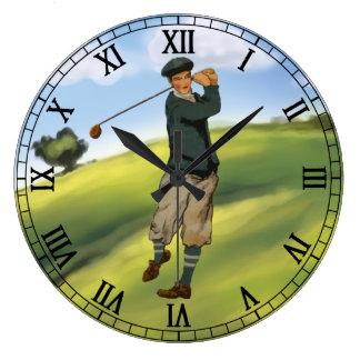 Golf för vintagelookgolfare som tar en gunga stor klocka