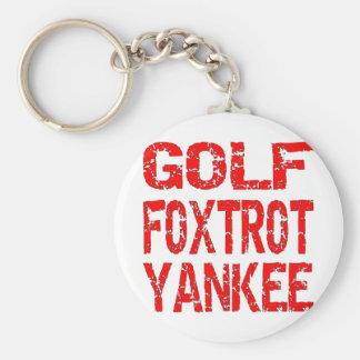 Golf Foxtrot yankeen GFY Rund Nyckelring