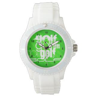 Golf; Gröna Stripes. för neon Armbandsur