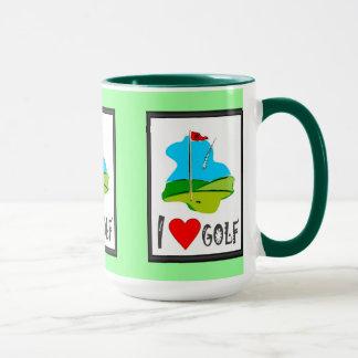Golf muggen, mig älskar golf, markörflagga mugg