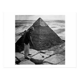 Golf på den svartvita pyramidvintagen vykort