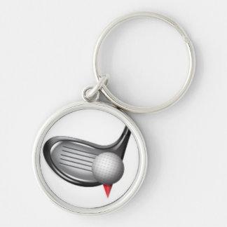 Golf Rund Silverfärgad Nyckelring