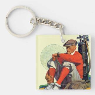 Golfaren höll att vänta fyrkantigt dubbelsidigt nyckelring i akryl