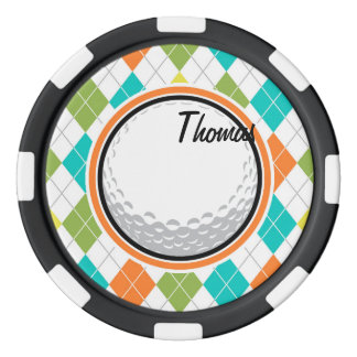 Golfboll; Färgrikt Argyle mönster Poker Marker