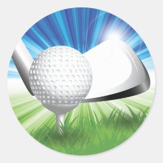 Golfboll- och utslagsplatsklistermärkear runt klistermärke