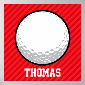 Golfboll; Scharlakansröda röda randar Poster