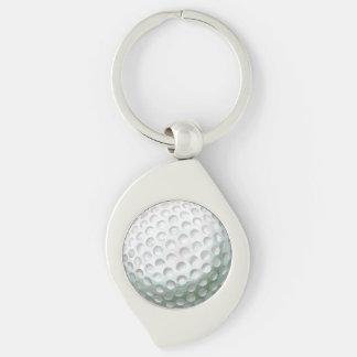 Golfboll Swirl Silverfärgad Nyckelring