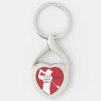 Golfkeychain. Twisted Heart Silverfärgad Nyckelring