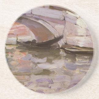 Gondoler vid Sargent, vintageVictoriankonst Underlägg Sandsten
