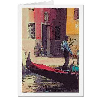 """""""Gondolier & Accordian spelare i Venedig"""" kort"""