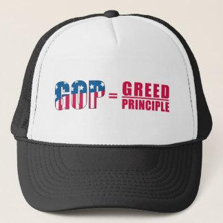 GOP = girighet över princip två tonar hattversion Keps